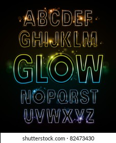 vector of alphabets of glowing neon light