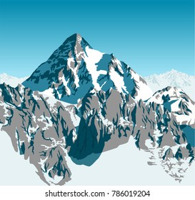 vector alpine landscape with peaks covered by snow