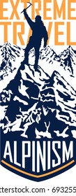 vector alpinism mountaineering travel flayer illustration