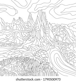 Vector Alps illustration with mountains, fields, rural landscape. Coloring page. Rustic print. Monochrome line drawing alpine