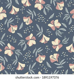 Vector Alstroemeria flower motif with navy background seamless repeat pattern