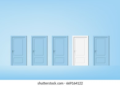 vector alternative door, pastel blue door with one different featured white door