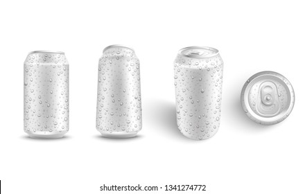 Vector aluminium can white mockup set for beer, juice or soda fresh drink packaging design. Soft or alcohol drink metal container on isolated background. Refreshing beverage in metal tin.