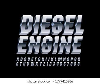 Vector aluminum metal banner Diesel Engine. 3D Chrome Font. Platinum Alphabet Letters and Numbers