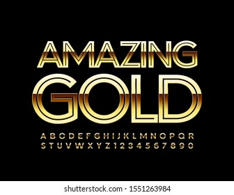 Vector Amazing Gold Font. Exclusive Alphabet Letters and Numbers.