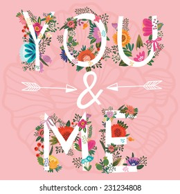 """Vector amazing Illustration of Floral Letters """"You&Me"""""""