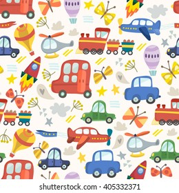 Vector amazing patter of cars, airplanes air balloons, flowers and butterflies.  Floral pattern in childish style in awesome colors, spring floral background.