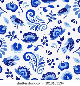 Vector amazing patterns with flowers and birds in Gzhel style. russiam blue ornament.