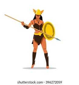 Vector Amazon girl with a spear Cartoon Illustration. Woman in a helmet holding shield and a spear. Branding Identity Corporate unusual Logo isolated on a white background