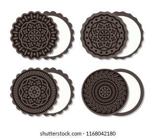 vector american chocolate cookies with cream for food backgrounds. top view of oreo sandwich cookie set. flat cocoa cookie icons. eps10 illustration