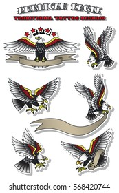 Vector American Eagle Set Vintage Traditional Tattoo Designs American Eagle Day