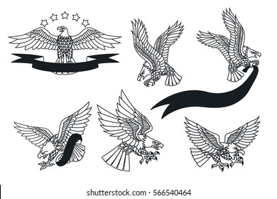 Vector American Eagles Set Traditional Tattoo Designs