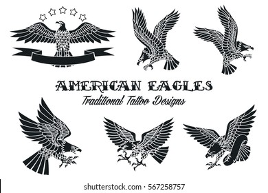 Vector American Eagles Set Traditional Tattoo Designs Vintage Collection