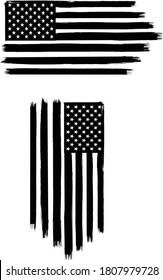 Vector of the American Flag - 2 sets of black and white flags