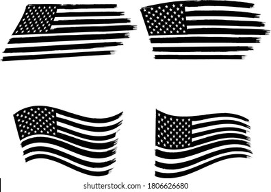 Vector of the American Flag - 4 sets of black and white flags