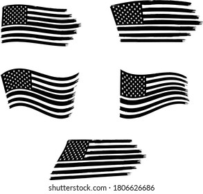 Vector of the American Flag - 5 sets of black and white flags