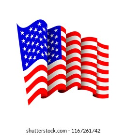 Vector American Flag Icon Isolated on White Background. Waving Icon of United States of America. Symbol of USA.