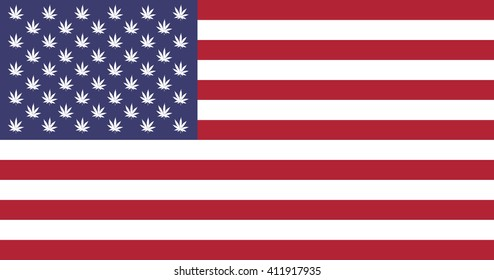 Vector of American flag replaced the stars with the weed.