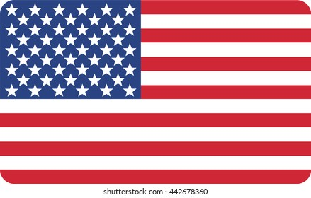 Vector of American flag with round corners