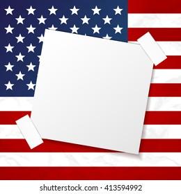 Vector american flag symbol sticker paper empty card template