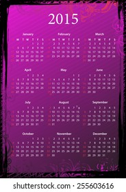 Vector American floral pink and black grungy calendar 2015, starting from Sundays