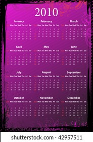 Vector American floral pink and black grungy calendar 2010, starting from Sundays