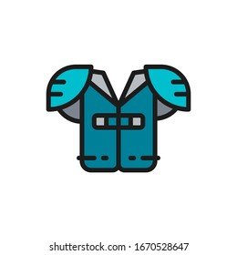 Vector american football chest protection flat color line icon.