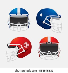 Vector of American football  helmet in different view isolated on white background.