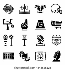 Vector American football icon set on white background