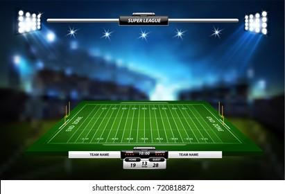 Vektorgrafik amerikanischer Fußballelemente auf grünem Hintergrund.