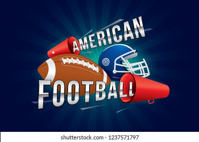 Vector american football text design with megaphone.
