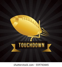 Vector of American football touchdown with gold theme template.