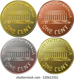vector American gold money, one cent coin with the image of the Lincoln Memorial, four color options