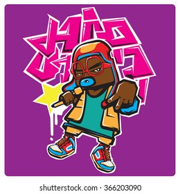 vector american hip hop rapper pop art illustration