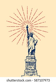 vector american symbol of New York statue of liberty with red starburst