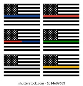 Vector American Thin Line Flag Set