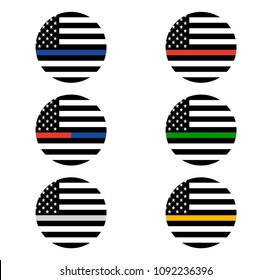 Vector American Thin Line Flag Set