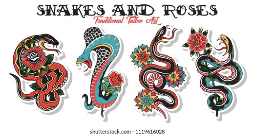 Vector American Traditional Tattoo Design Snakes and Roses