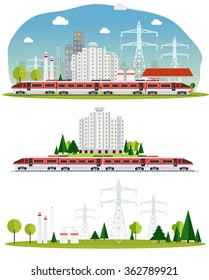 Vector, amid the industrial landscape with windmills, power lines, eco-factories with the image of the train station and design elements.