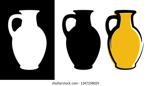 Vector amphora image in yellow color and silhouettes in white and black background isolated in flat style. Illustration of ancient greek clay urn.