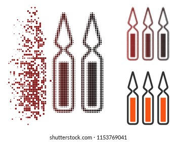 Vector ampoules icon in sparkle, dotted halftone and undamaged entire variants. Disappearing effect uses rectangular scintillas and horizontal gradient from red to black.