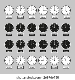 Vector analog clock 24 hours day night serial icon symbol flat sequence template