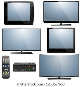 Vector Analog and Digital Televisions isolated on white background