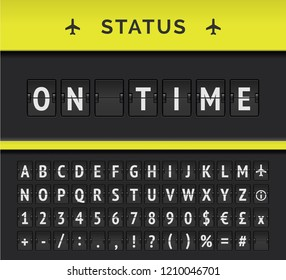Vector analog flip board timetable showing airport flight information of departure status: On time, with aircraft sign icon and alphabet