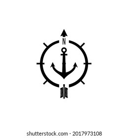 vector of anchor and compass with arrow pointing to letter n, icon and logo