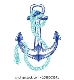 Vector anchor. Sea, ocean, sailor sign. Hand drawn vintage illustration for t-shirt, logo, badge, emblem.