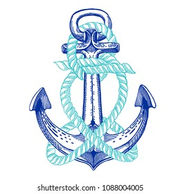 Vector anchor. Sea, ocean, sailor sign. Hand drawn vintage illustration for t-shirt, logo, badge, emblem.