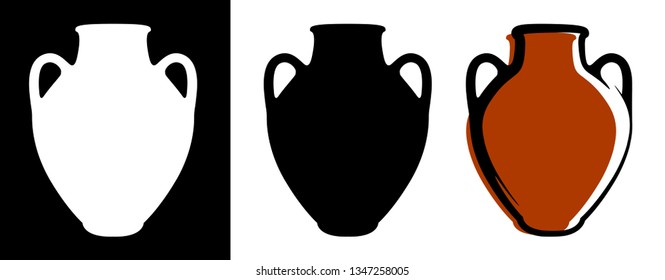 Vector ancient amphora image in brown color and silhouettes in white and black background isolated in flat style. Illustration of greek clay urn.