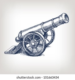 Vector ancient cannon vintage ink engraving illustration arm weapon hand drawn doodle sketch