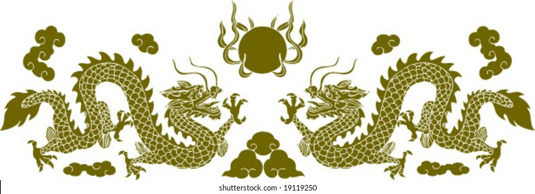 Vector of Ancient Chinese Traditional Artistic Dragon Pattern